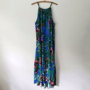 Rachel Roy Blue Gathered Floral Maxi Halter Dress